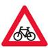 Færdselstavlen advarer cyklister forude