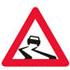 Færdseltavle advarer glat vej forude