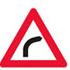 Færdseltavle advarer farligt vejsving til højre
