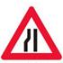 Advarsel om indsnævring af vej på venstre side