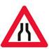 Advarsel om indsnævring af vej fra begge sider